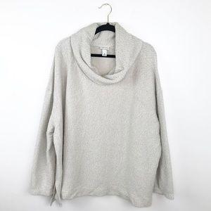 Ava & viv ivory metallic cowl neck sweater